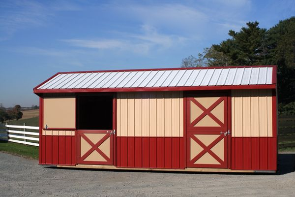 12X24 Metal Shed Row Horse Barn  - 2 Stalls with Dutch Doors