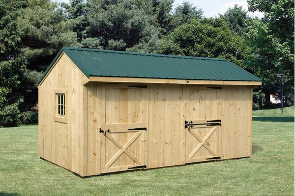 10X18 Wood  Shedrow, Metal Roof & Tack