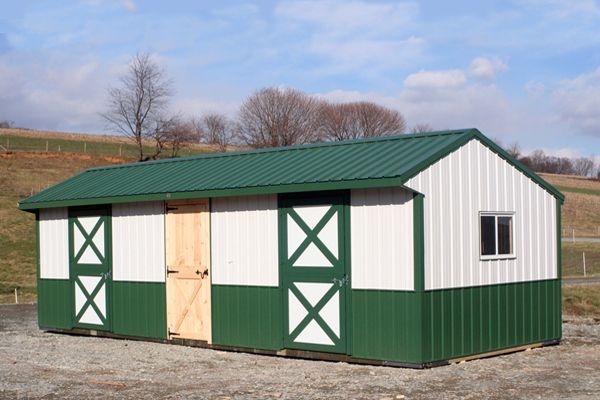 10X30 Metal  Shedrow with Dutch Drs and 6' Tack Room