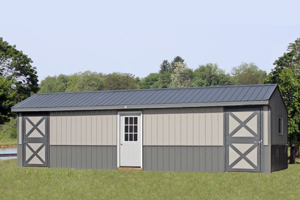 12x34 Metal Shed Row Horse Barn with Center Tack