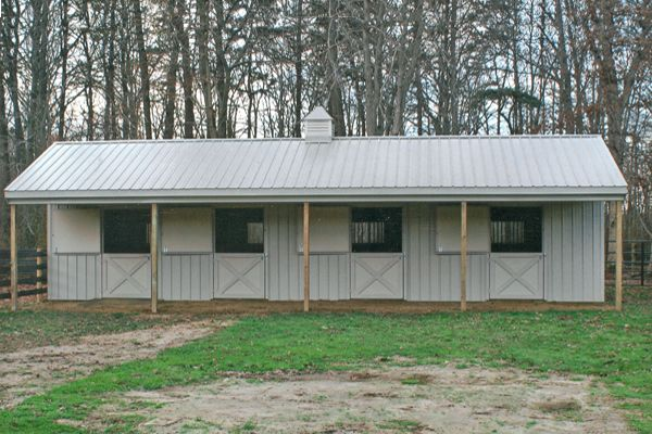 10X44 Metal Shed Row Horse Barn Tack & 10' Overhang