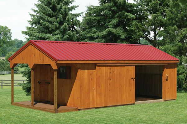 Shed Row Horse Barn  with a Porch and Tack Room
