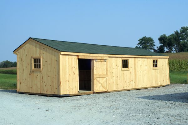 12X36 Wood Shed Row Horse Barn, Unstained, Back View