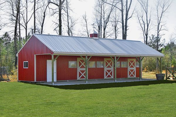 12'x48' Shed Row Horse Barn with 3 Stalls & Tack
