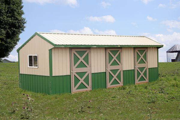 10X28 Metal Shedrow - 4' Tack, Two Stalls