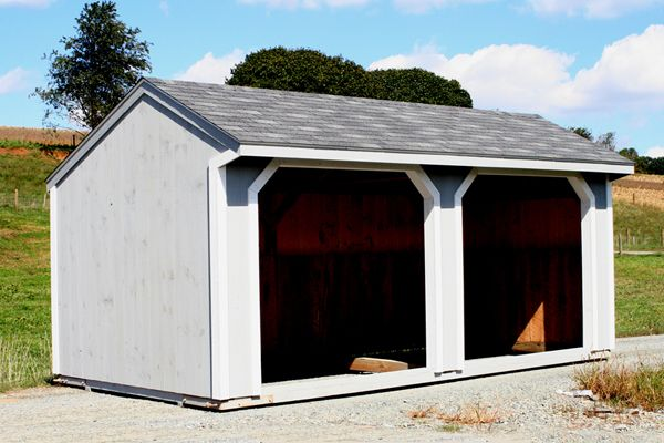 Horse Barn 10X20 Run-in Shed , Grey Stain, Shingles & Two 8x7 Openings