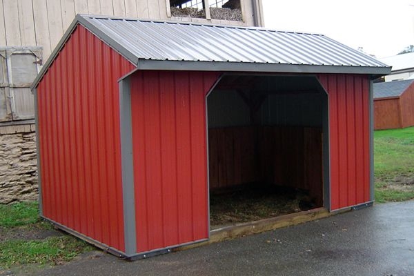 10X16 Metal with Metal Roof, One Opening