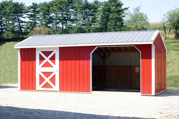 12x24 Horse Barn, Metal Run-in with Tack & One Opening