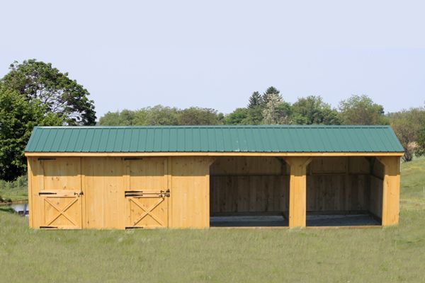 10x36 Wood Horse Barn, Run-in Shed With Metal Roof, Stall and Tack
