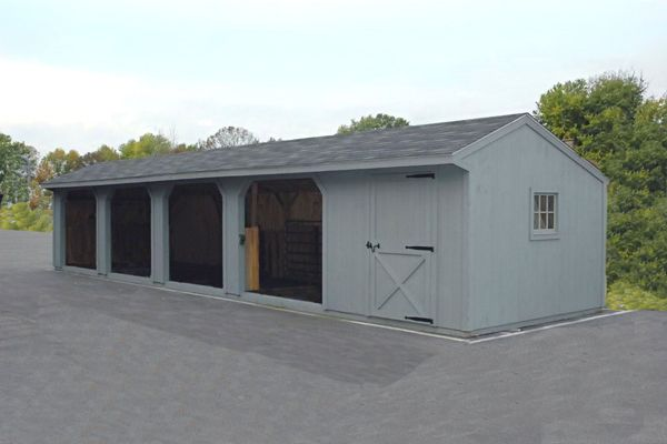 10x48 Wood Horse Barn,  Run-in Shed