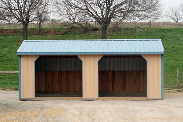 12X24 Metal Shed Tan with Blue Trim