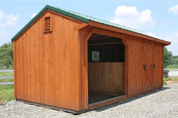 10x22 Stained Wood, Metal Roof, 1 Stall &  Opening