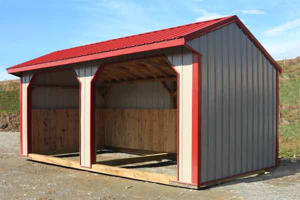 10x20 Metal Siding & Roof,  Grey with Red Trim