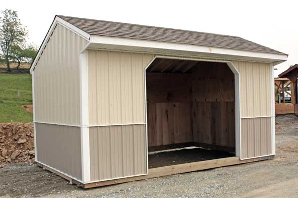 10x16 Run-in,  Shingle Roof & Two-Toned Metal Siding, One Opening