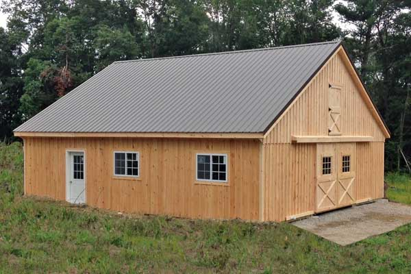 36x36 Modular Horse Barn with full loft