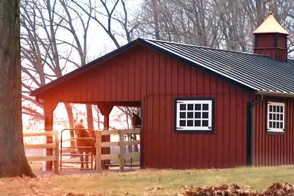 24x60 L-Shaped Modular Horse Barn, with 12' Overhang Partially Enclosed