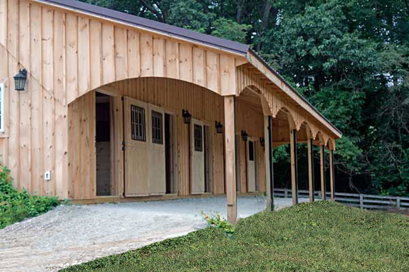 This horse barn has a beautiful scalloped overhang!!