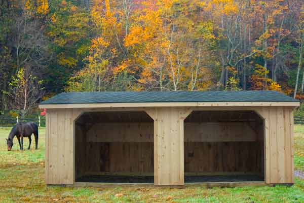 10x24 Run-in Horse Barn: Metal Roof & Wood Siding, Two 8x7 Openings