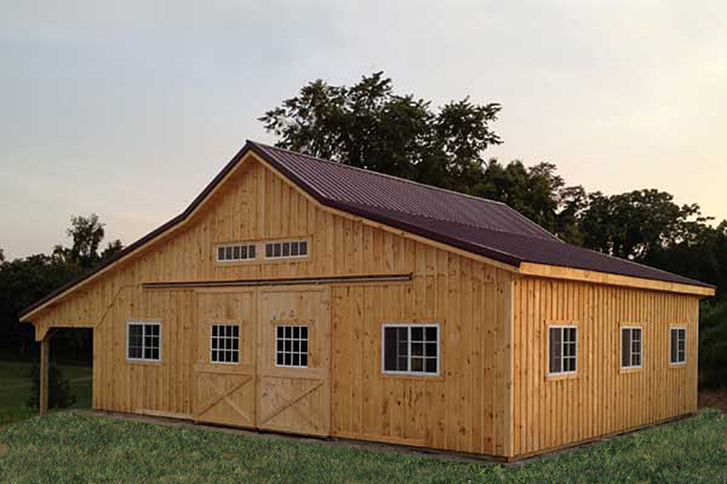 36x36 Modular Barn, B&B Siding, Metal Roof