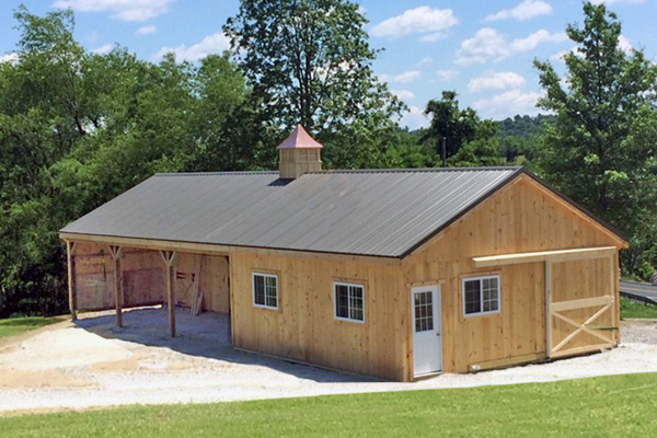 12X60 Wood  Shed Row Horse Barn, 12' Partially Enclosed Overhang