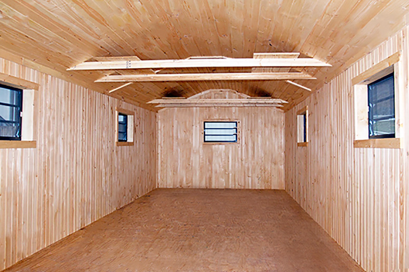 Inside Finish of a 12 x 30 Storage Barn
