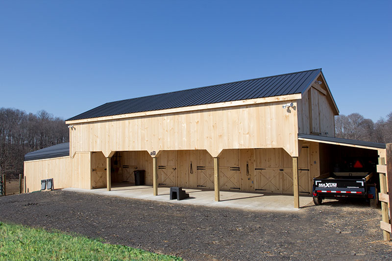Two Story 12x48 Shedrow. Stalls, Tack & Loft