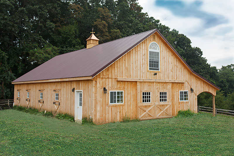 10x60 Pole Barn, 10' Overhang, Arched Trim