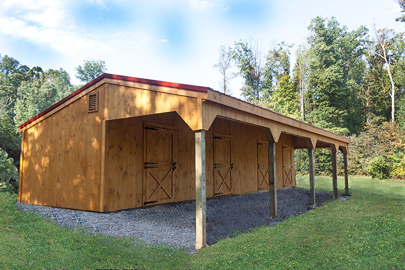 12x44 Shed Row Horse Barn with 10' Overhang, 3 Stalls and Tack Room