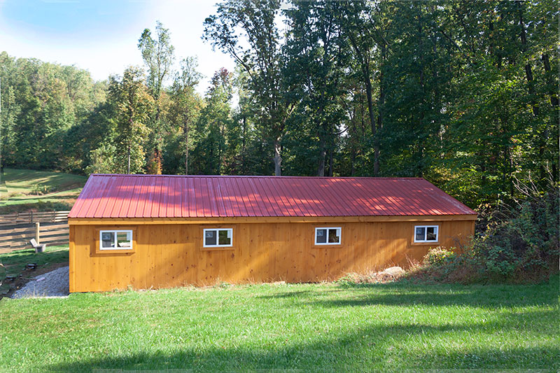 12x44 Shed Row Horse Barn, Stained Wood Siding & Metal Roof - Back View
