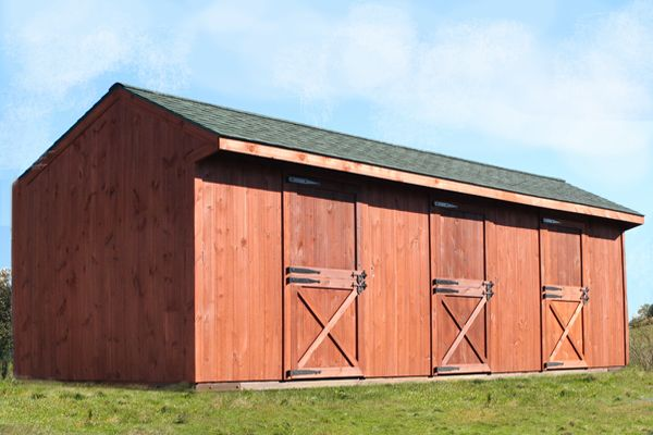 12x36 Wood Shed Row Horse Barn, Stained