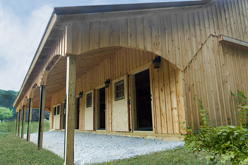 10' Overhang  Arched Trim in Horse Pole Barn