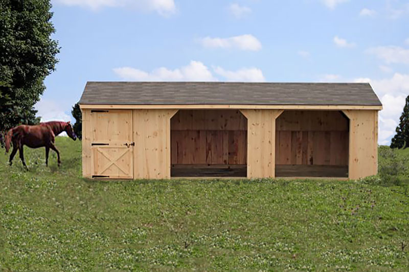 10X30 with 6' Tack Rm Wood & Shingled Roof
