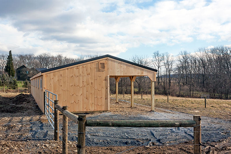 12x80 Shed Row Horse Barn, Almost Finished - Side View