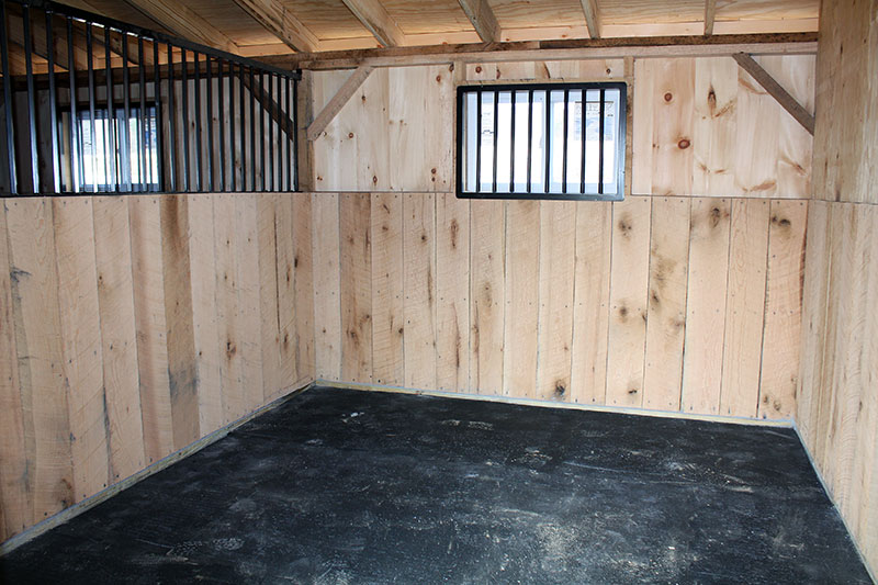Shed Row Horse Barn Stall Inside with Oak Kick Board, 3x4 Vinyl Window & Divider