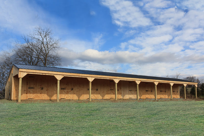 12x80 Wood  Shed Row Horse Barn-10' Overhang, 6 stalls